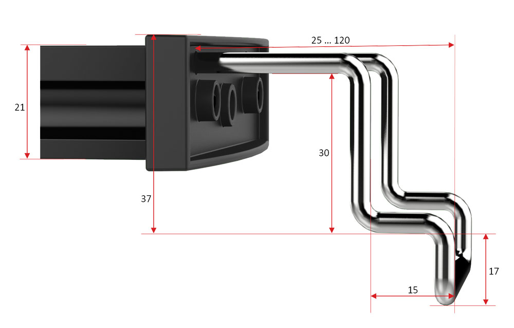 Mitras Lightbar 2 Abmessungen Haltebügel abgewinkelt