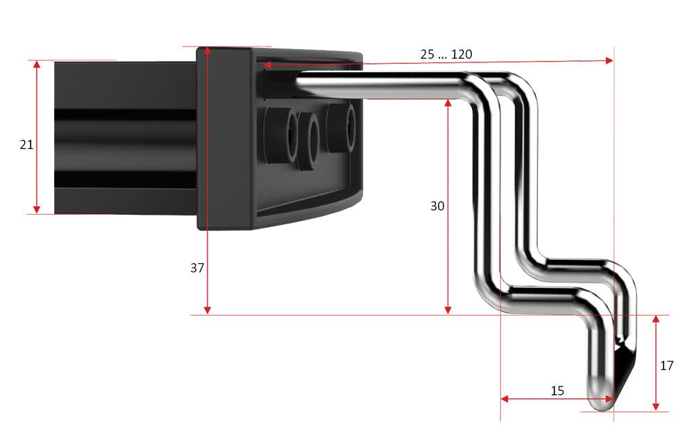 MitrasLightbar 2, dimensions angled holding bracket
